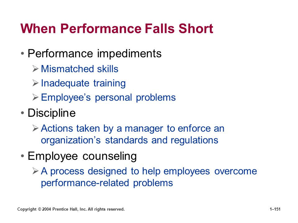 Copyright © 2004 Prentice Hall, Inc. All rights reserved.1–151 When Performance Falls Short Performance impediments Mismatched skills Inadequate train
