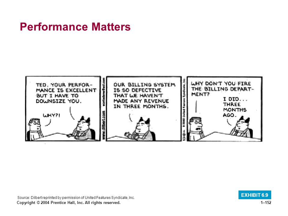 Copyright © 2004 Prentice Hall, Inc. All rights reserved.1–152 Performance Matters EXHIBIT 6.9 Source: Dilbert reprinted by permission of United Featu