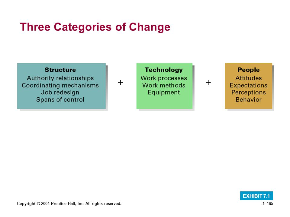 Copyright © 2004 Prentice Hall, Inc. All rights reserved.1–165 Three Categories of Change EXHIBIT 7.1