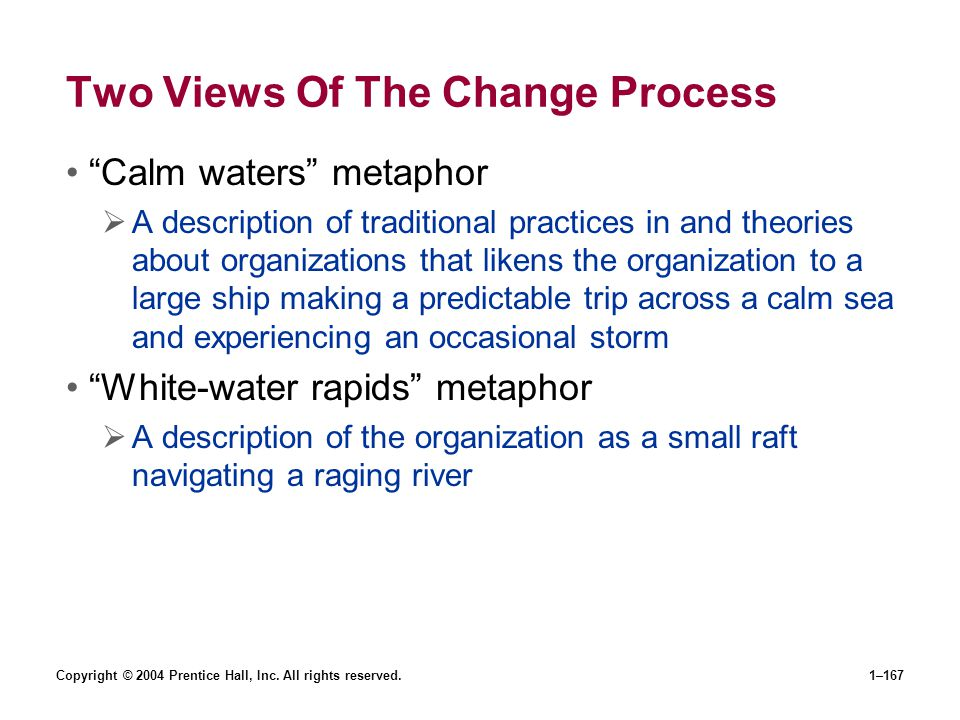 Copyright © 2004 Prentice Hall, Inc. All rights reserved.1–167 Two Views Of The Change Process Calm waters metaphor A description of traditional pract