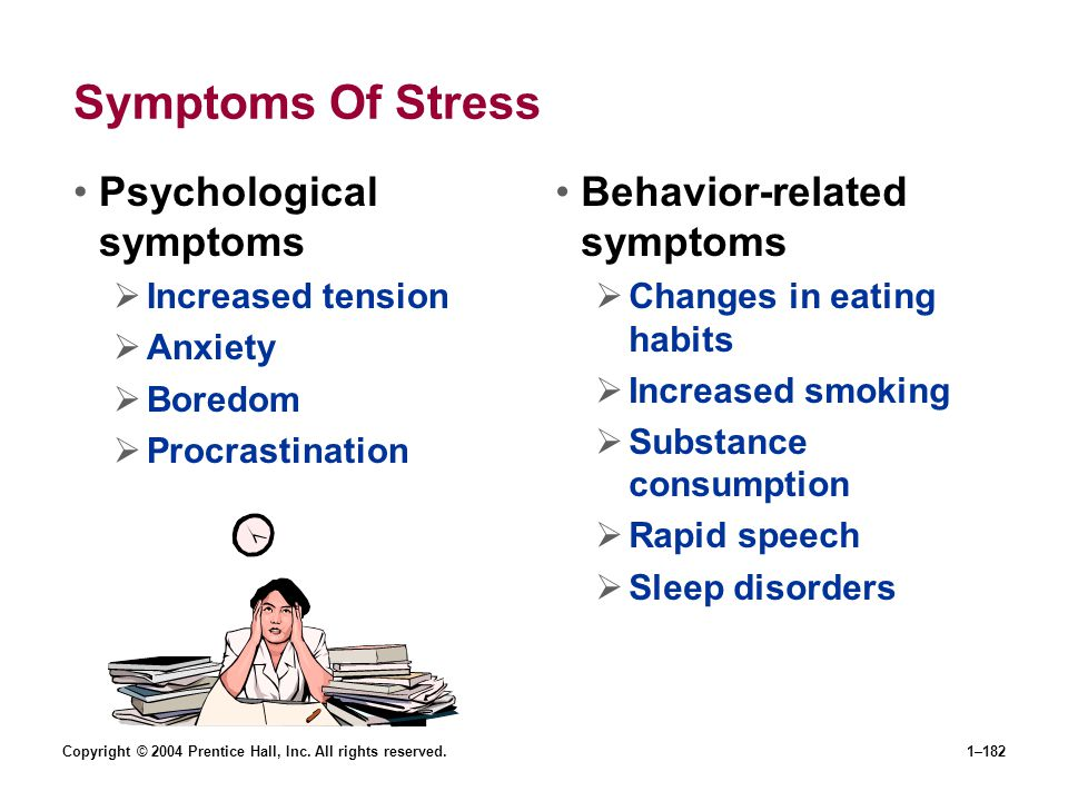 Copyright © 2004 Prentice Hall, Inc. All rights reserved.1–182 Symptoms Of Stress Psychological symptoms Increased tension Anxiety Boredom Procrastina