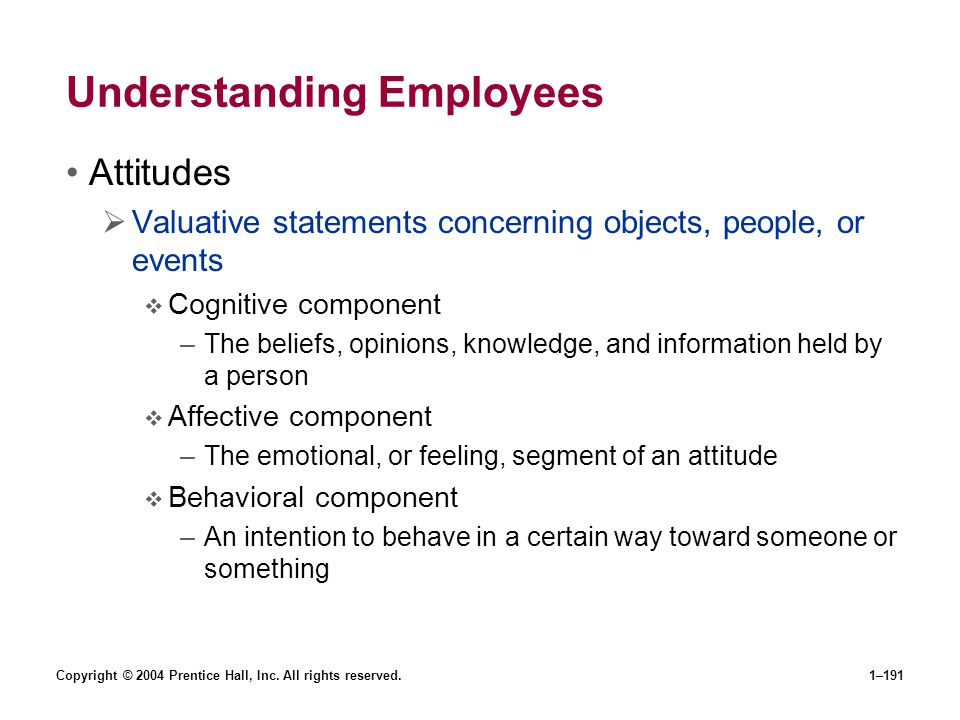 Copyright © 2004 Prentice Hall, Inc. All rights reserved.1–191 Understanding Employees Attitudes Valuative statements concerning objects, people, or e