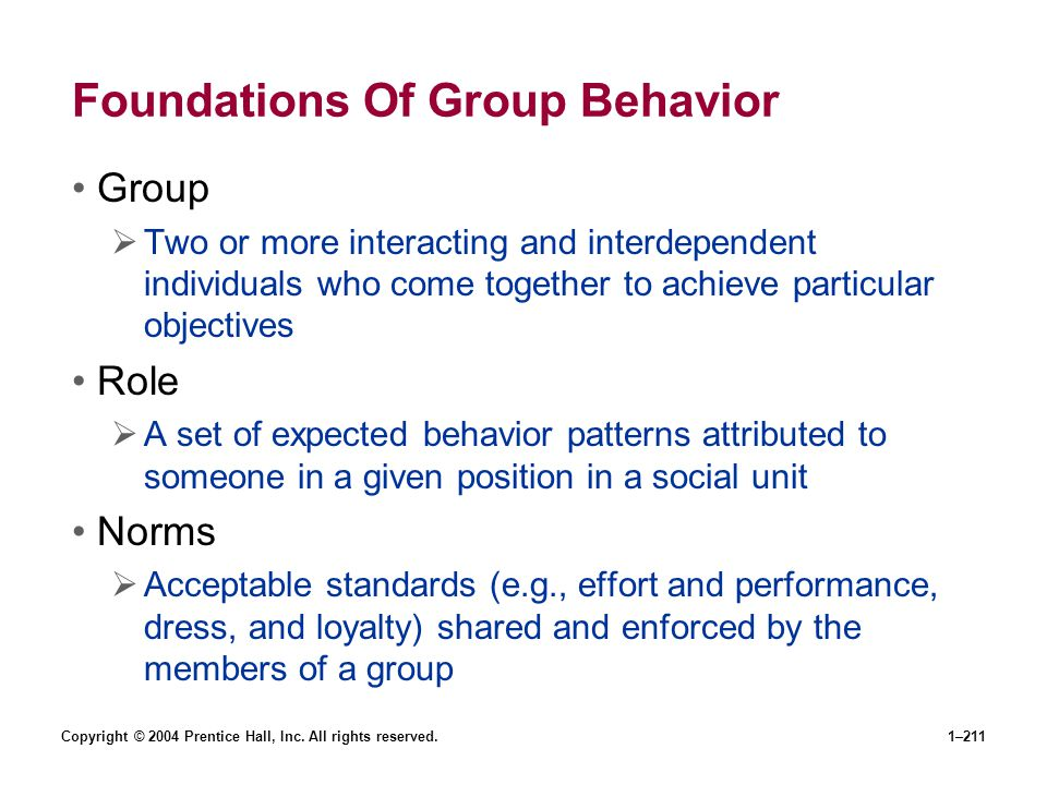 Copyright © 2004 Prentice Hall, Inc. All rights reserved.1–211 Foundations Of Group Behavior Group Two or more interacting and interdependent individu