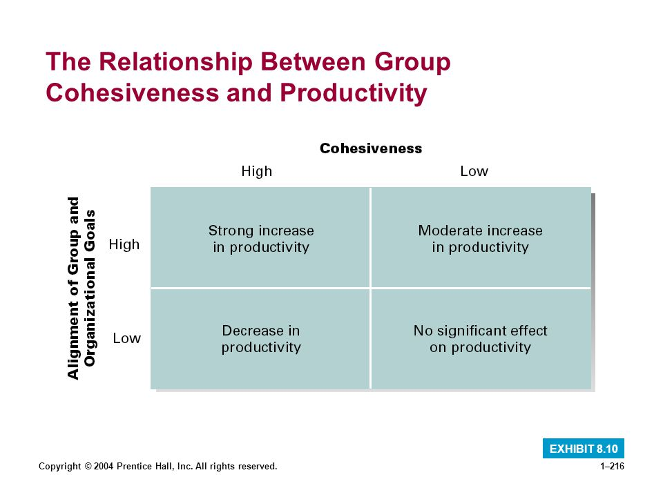 Copyright © 2004 Prentice Hall, Inc. All rights reserved.1–216 The Relationship Between Group Cohesiveness and Productivity EXHIBIT 8.10