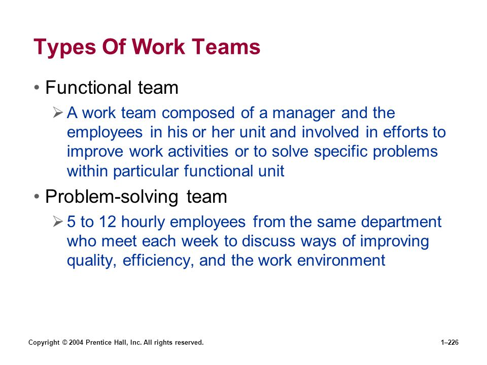 Copyright © 2004 Prentice Hall, Inc. All rights reserved.1–226 Types Of Work Teams Functional team A work team composed of a manager and the employees