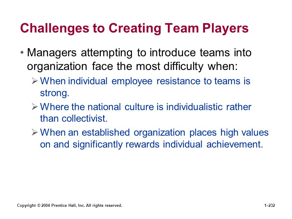 Copyright © 2004 Prentice Hall, Inc. All rights reserved.1–232 Challenges to Creating Team Players Managers attempting to introduce teams into organiz