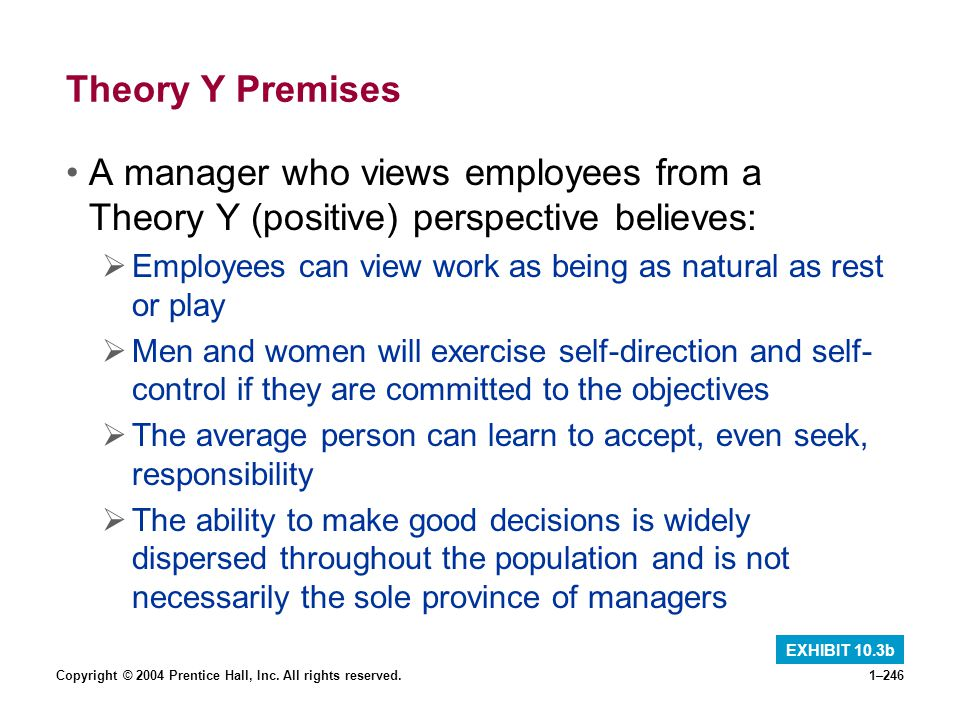 Copyright © 2004 Prentice Hall, Inc. All rights reserved.1–246 Theory Y Premises A manager who views employees from a Theory Y (positive) perspective