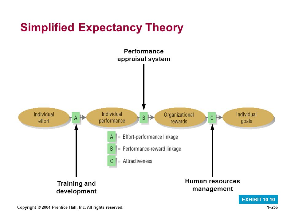 Copyright © 2004 Prentice Hall, Inc. All rights reserved.1–256 Simplified Expectancy Theory EXHIBIT 10.10 Training and development Performance apprais