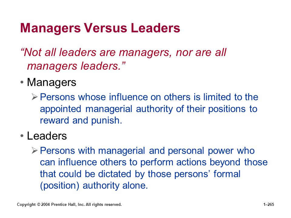 Copyright © 2004 Prentice Hall, Inc. All rights reserved.1–265 Managers Versus Leaders Not all leaders are managers, nor are all managers leaders. Man