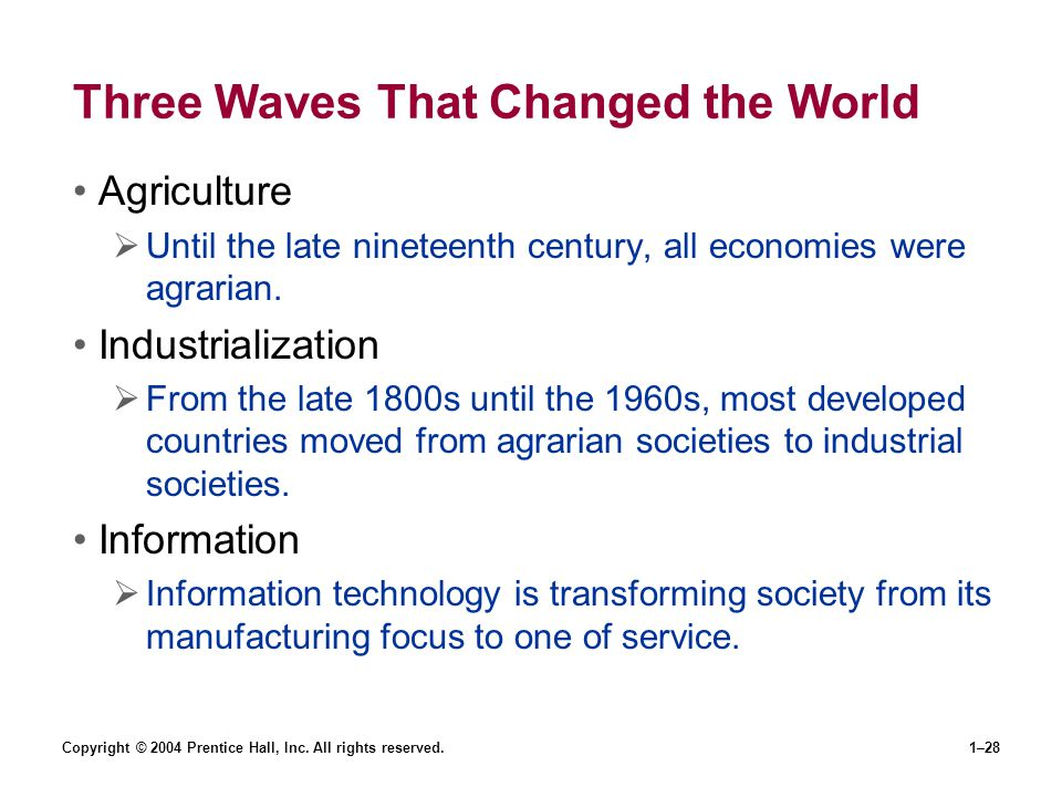 Copyright © 2004 Prentice Hall, Inc. All rights reserved.1–28 Three Waves That Changed the World Agriculture Until the late nineteenth century, all ec