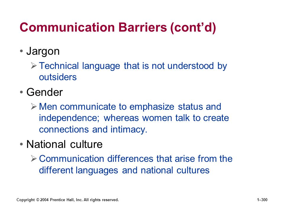 Copyright © 2004 Prentice Hall, Inc. All rights reserved.1–300 Communication Barriers (contd) Jargon Technical language that is not understood by outs