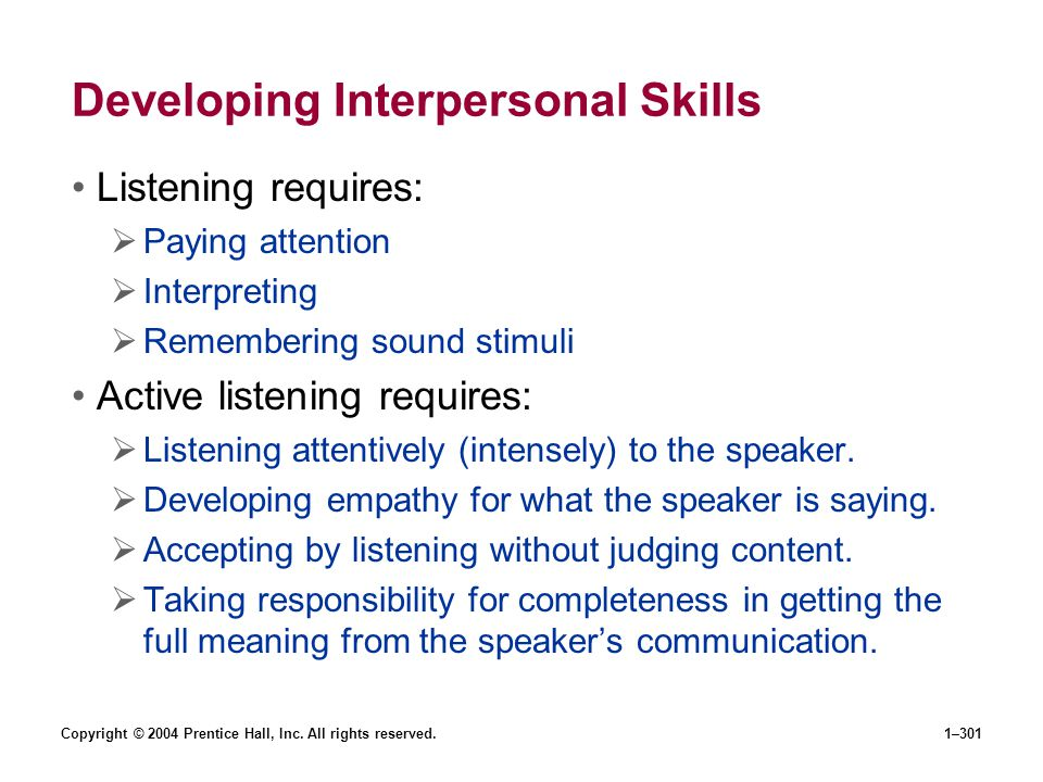Copyright © 2004 Prentice Hall, Inc. All rights reserved.1–301 Developing Interpersonal Skills Listening requires: Paying attention Interpreting Remem