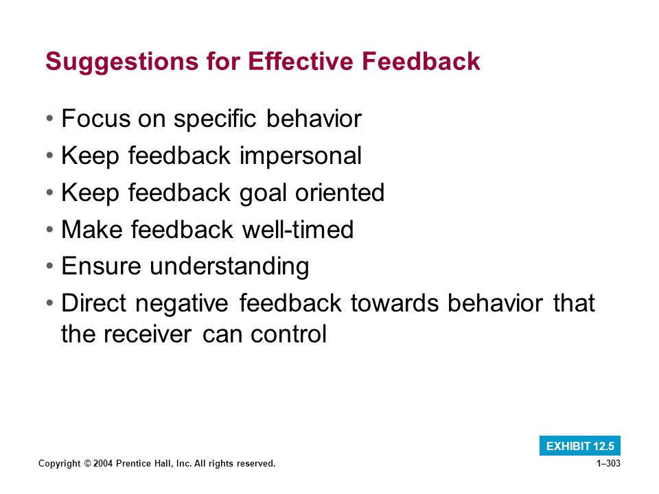 Copyright © 2004 Prentice Hall, Inc. All rights reserved.1–303 Suggestions for Effective Feedback Focus on specific behavior Keep feedback impersonal