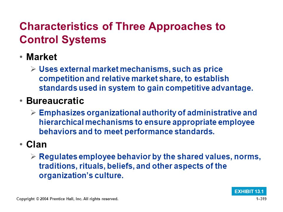 Copyright © 2004 Prentice Hall, Inc. All rights reserved.1–319 Characteristics of Three Approaches to Control Systems Market Uses external market mech