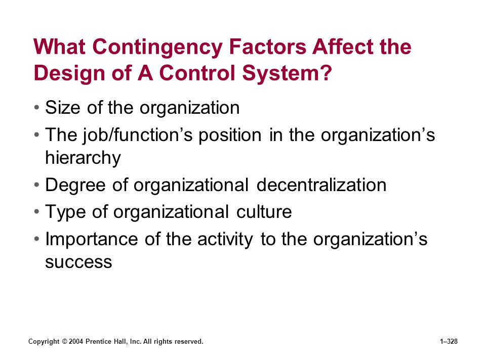 Copyright © 2004 Prentice Hall, Inc. All rights reserved.1–328 What Contingency Factors Affect the Design of A Control System? Size of the organizatio