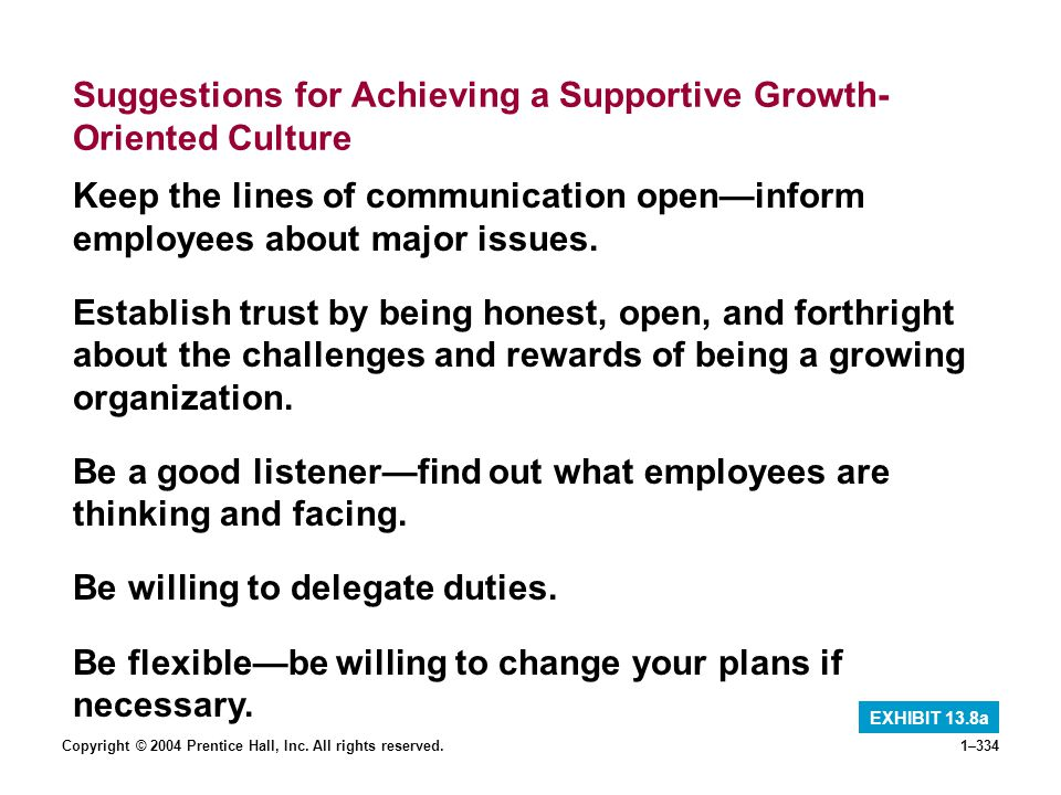 Copyright © 2004 Prentice Hall, Inc. All rights reserved.1–334 Suggestions for Achieving a Supportive Growth- Oriented Culture EXHIBIT 13.8a Keep the