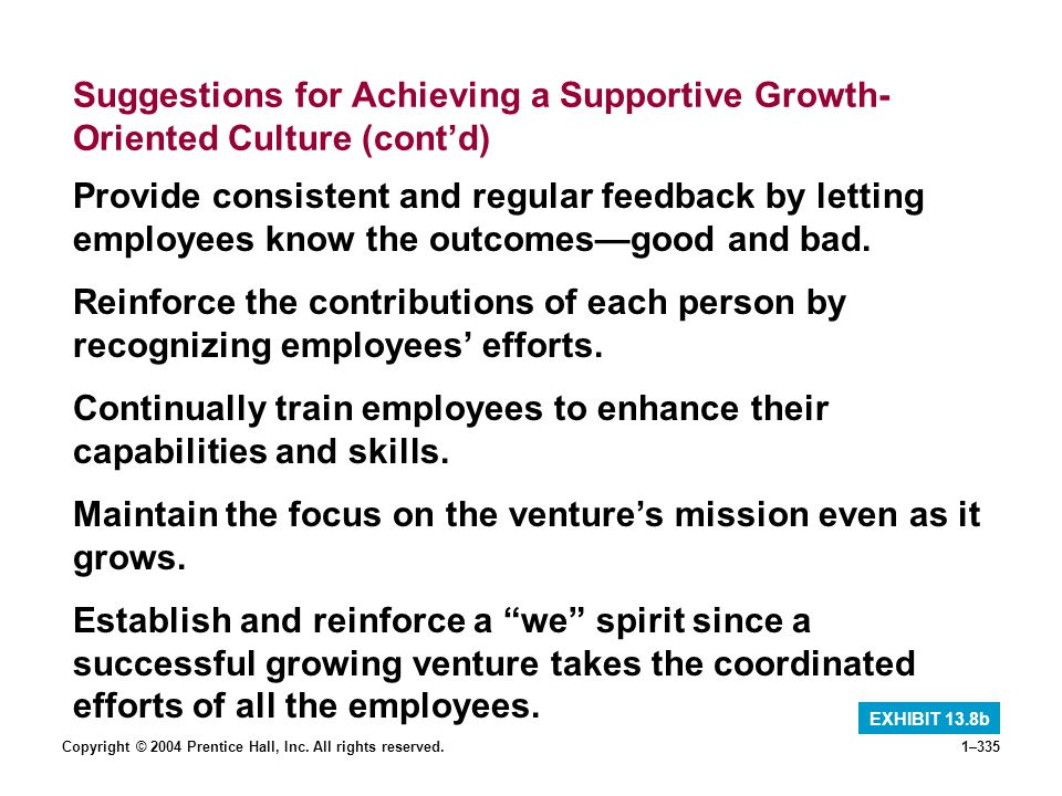 Copyright © 2004 Prentice Hall, Inc. All rights reserved.1–335 Suggestions for Achieving a Supportive Growth- Oriented Culture (contd) EXHIBIT 13.8b P