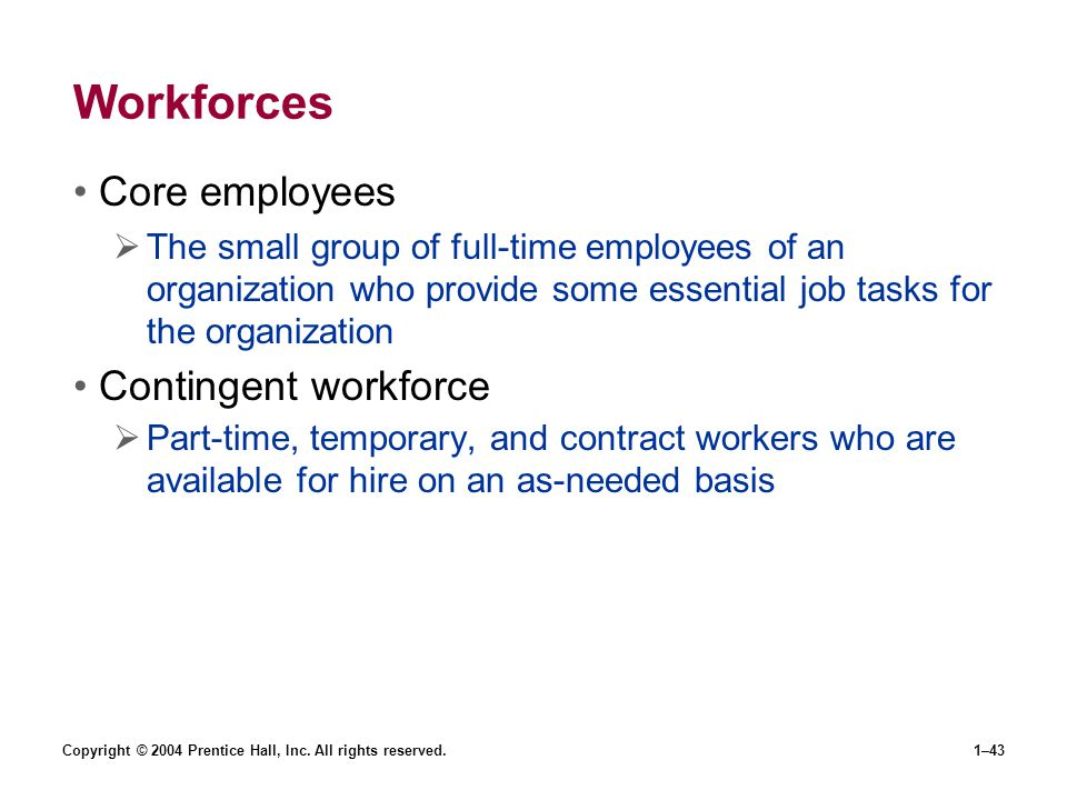 Copyright © 2004 Prentice Hall, Inc. All rights reserved.1–43 Workforces Core employees The small group of full-time employees of an organization who