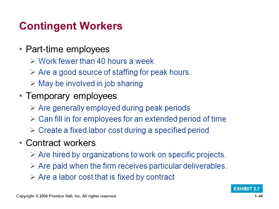 Copyright © 2004 Prentice Hall, Inc. All rights reserved.1–44 Contingent Workers Part-time employees Work fewer than 40 hours a week Are a good source