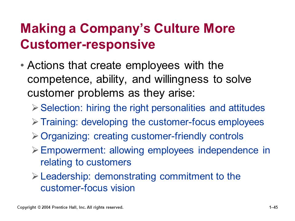 Copyright © 2004 Prentice Hall, Inc. All rights reserved.1–45 Making a Companys Culture More Customer-responsive Actions that create employees with th