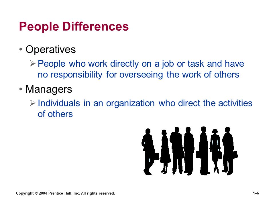 Copyright © 2004 Prentice Hall, Inc. All rights reserved.1–6 People Differences Operatives People who work directly on a job or task and have no respo