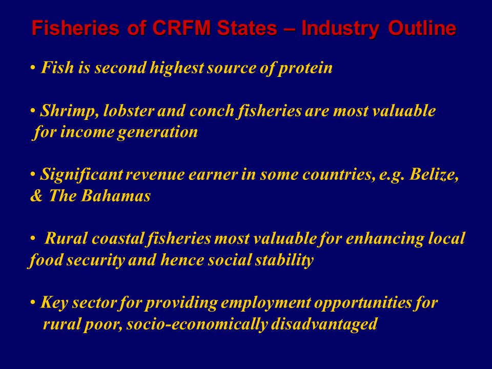 Fisheries of CRFM States – Industry Outline Fish is second highest source of protein Shrimp, lobster and conch fisheries are most valuable for income generation Significant revenue earner in some countries, e.g.