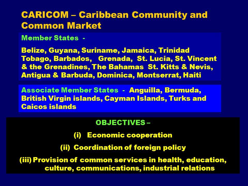 CARICOM – Caribbean Community and Common Market Member States - Belize, Guyana, Suriname, Jamaica, Trinidad Tobago, Barbados, Grenada, St.