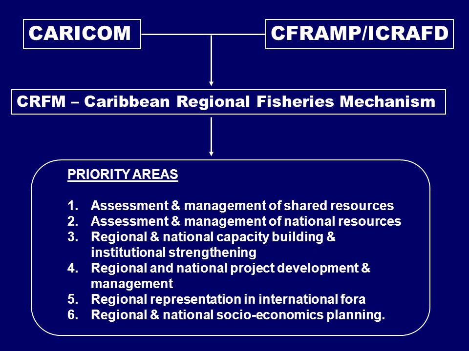 CARICOM CRFM – Caribbean Regional Fisheries Mechanism CFRAMP/ICRAFD PRIORITY AREAS 1.Assessment & management of shared resources 2.Assessment & management of national resources 3.Regional & national capacity building & institutional strengthening 4.Regional and national project development & management 5.Regional representation in international fora 6.Regional & national socio-economics planning.