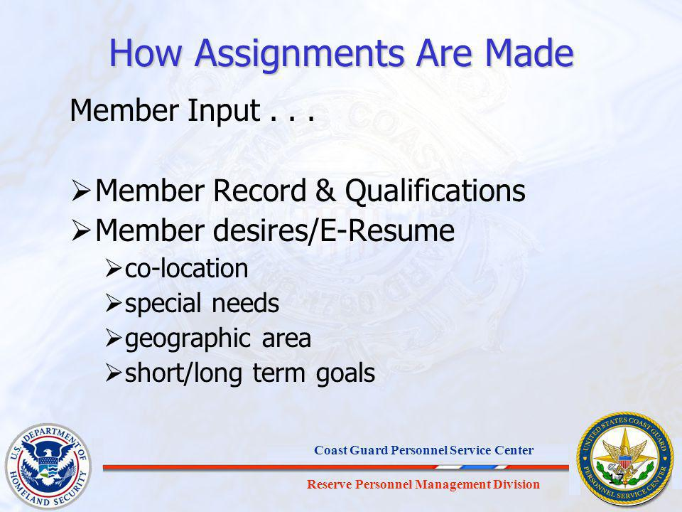 Reserve Personnel Management Division Coast Guard Personnel Service Center 17 How Assignments Are Made Member Input...