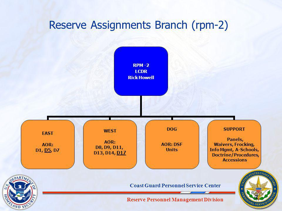Reserve Personnel Management Division Coast Guard Personnel Service Center 7 7 RPM -2 LCDR Rick Howell EAST AOR: D1, D5, D7 WEST AOR: D8, D9, D11, D13, D14, D17 DOG AOR: DSF Units SUPPORT Panels, Waivers, Frocking, Info Mgmt, A-Schools, Doctrine/Procedures, Accessions Reserve Assignments Branch (rpm-2)