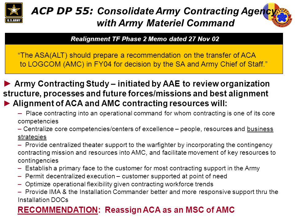 ACP DP 55: Consolidate Army Contracting Agency with Army Materiel Command Army Contracting Study – initiated by AAE to review organization structure,
