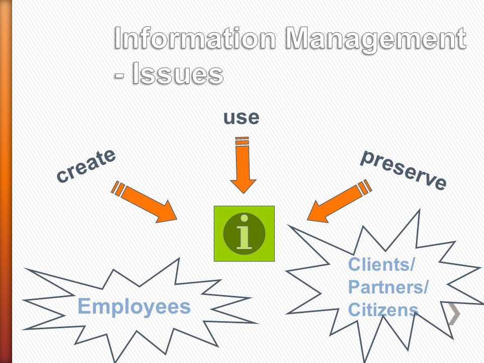 create preserve use Employees Clients/ Partners/ Citizens