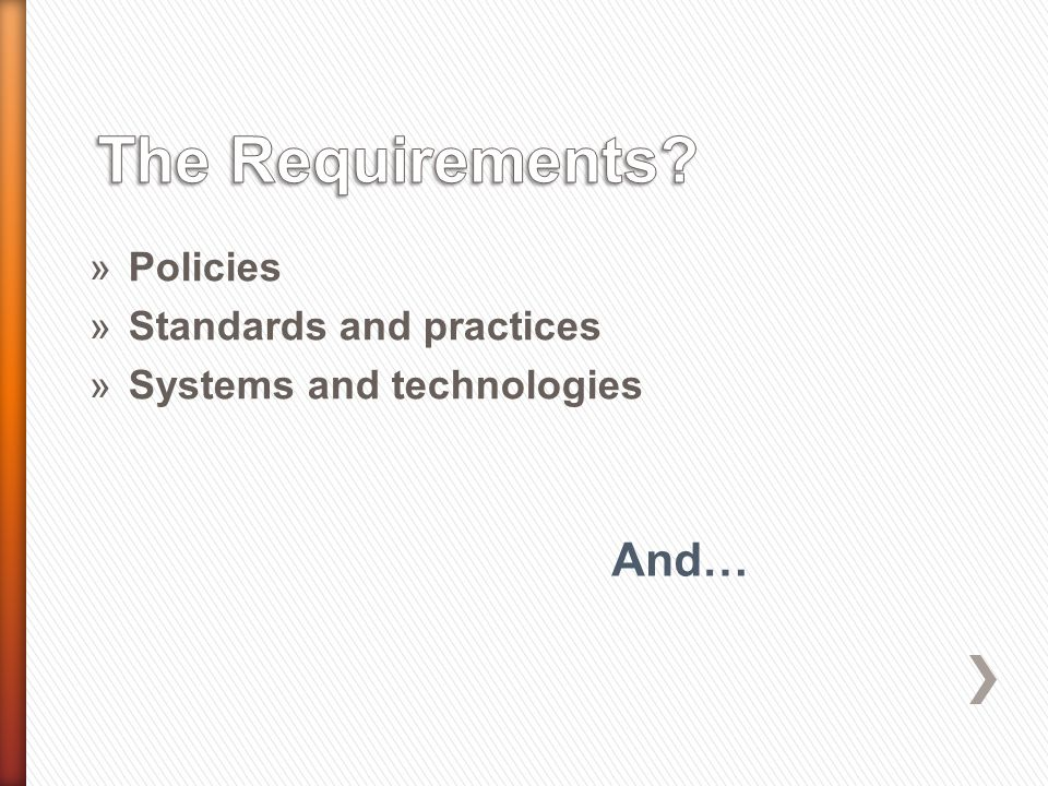 »Policies »Standards and practices »Systems and technologies And…