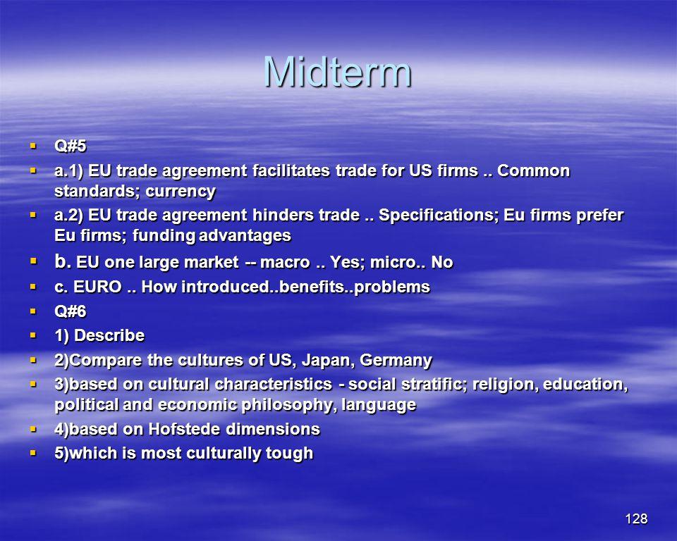 128 Midterm Q#5 Q#5 a.1) EU trade agreement facilitates trade for US firms.. Common standards; currency a.1) EU trade agreement facilitates trade for