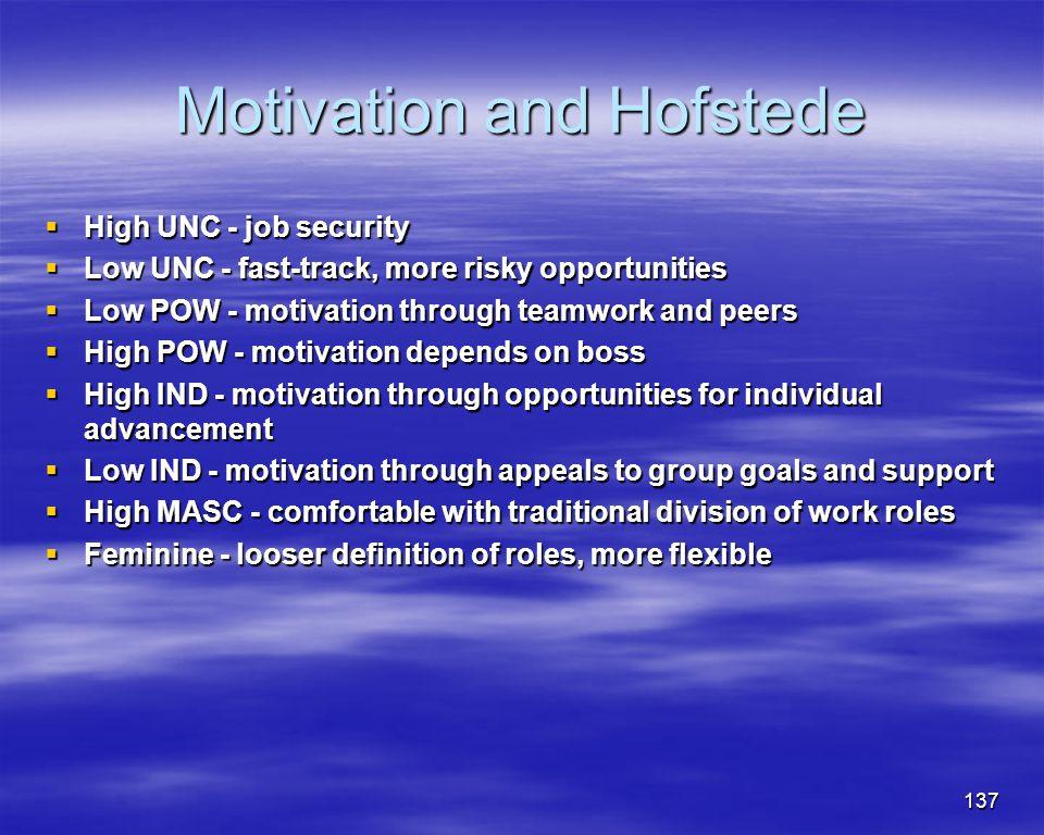137 Motivation and Hofstede High UNC - job security High UNC - job security Low UNC - fast-track, more risky opportunities Low UNC - fast-track, more
