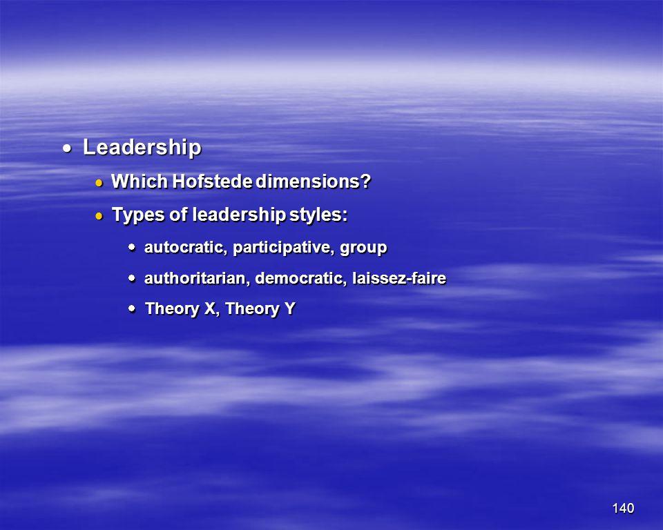 140 Leadership Leadership Which Hofstede dimensions? Which Hofstede dimensions? Types of leadership styles: Types of leadership styles: autocratic, pa