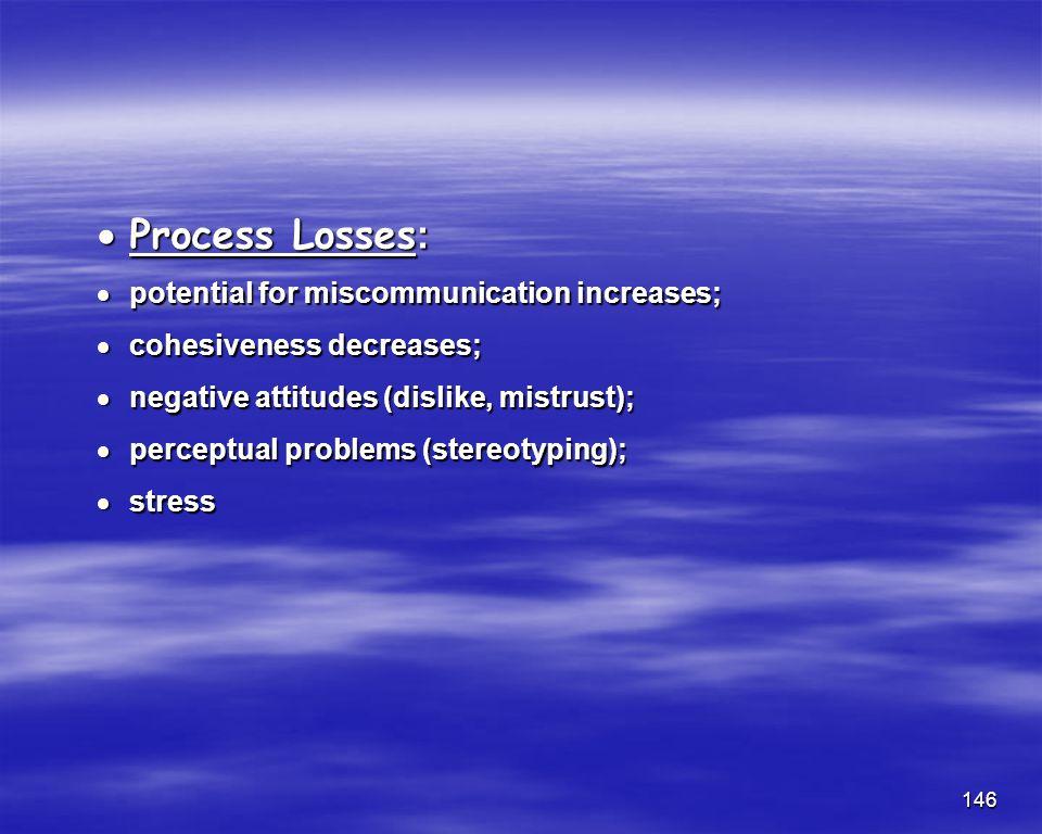 146 Process Losses: Process Losses: potential for miscommunication increases; potential for miscommunication increases; cohesiveness decreases; cohesi