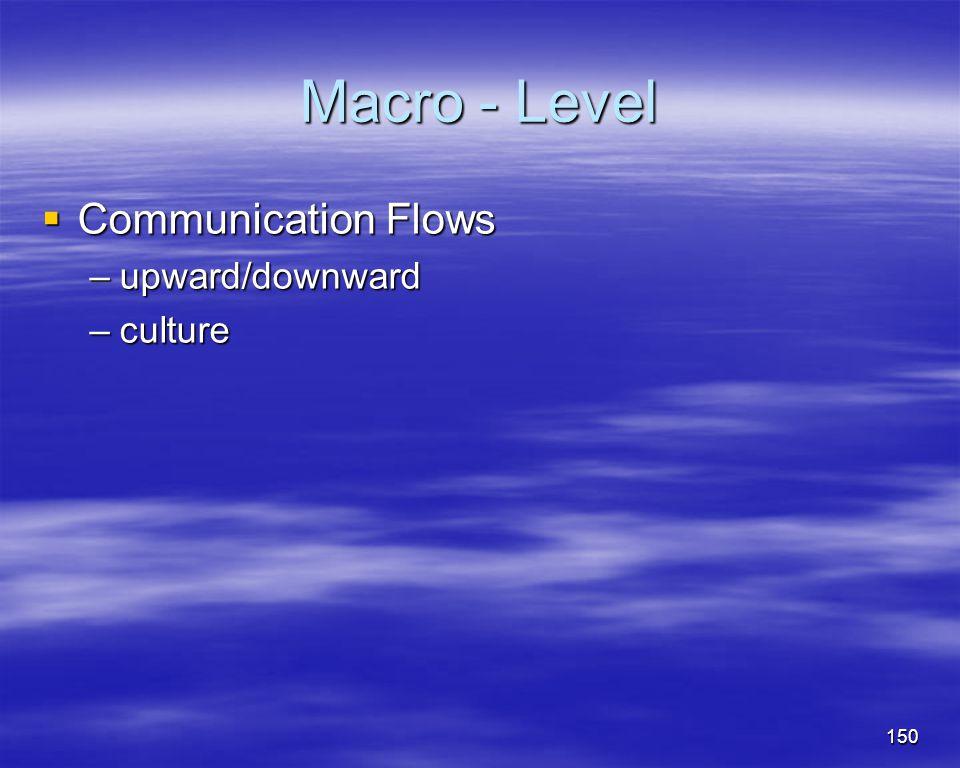150 Macro - Level Communication Flows Communication Flows –upward/downward –culture