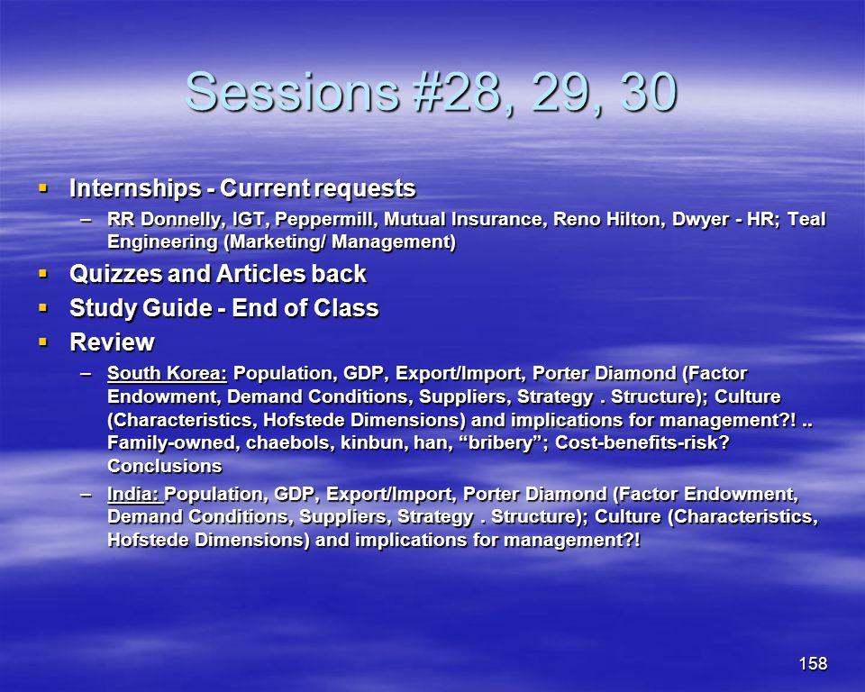 158 Sessions #28, 29, 30 Internships - Current requests Internships - Current requests –RR Donnelly, IGT, Peppermill, Mutual Insurance, Reno Hilton, D