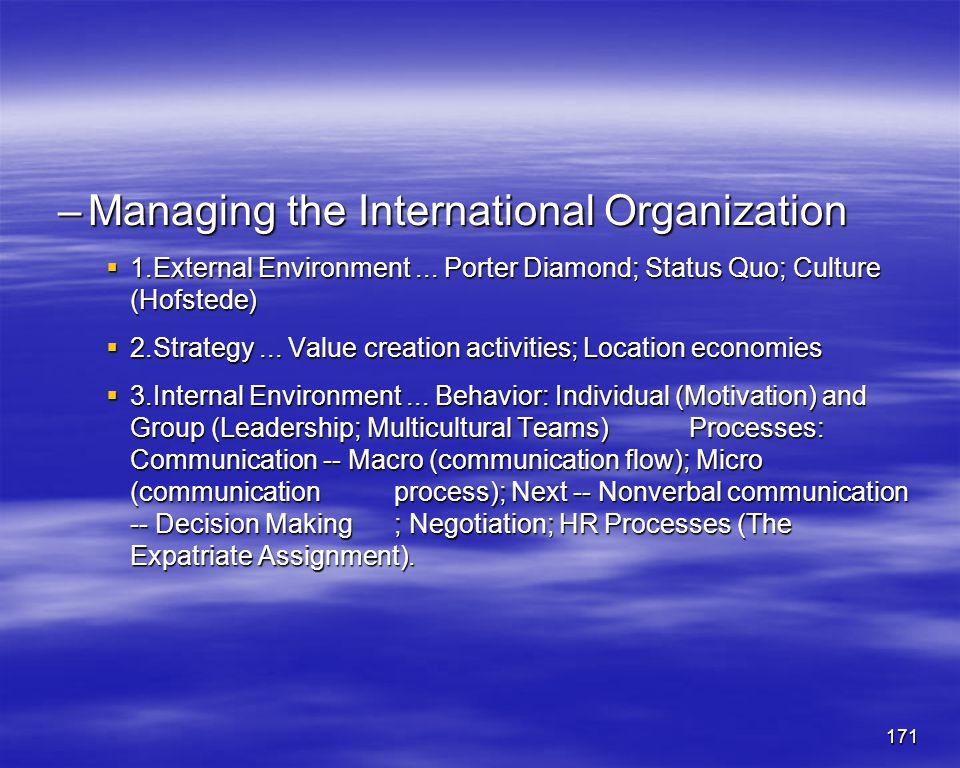 171 –Managing the International Organization 1.External Environment... Porter Diamond; Status Quo; Culture (Hofstede) 1.External Environment... Porter