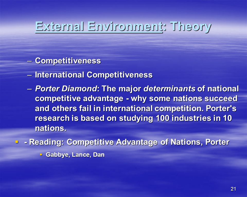 21 External Environment: Theory –Competitiveness –International Competitiveness –Porter Diamond: The major determinants of national competitive advant