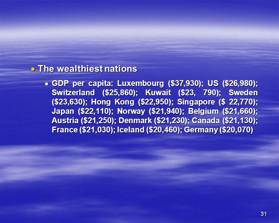 31 The wealthiest nations The wealthiest nations GDP per capita: Luxembourg ($37,930); US ($26,980); Switzerland ($25,860); Kuwait ($23, 790); Sweden