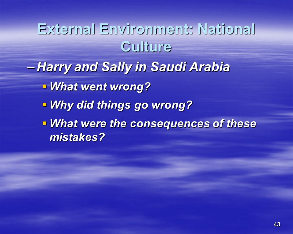 43 External Environment: National Culture –Harry and Sally in Saudi Arabia What went wrong? What went wrong? Why did things go wrong? Why did things g