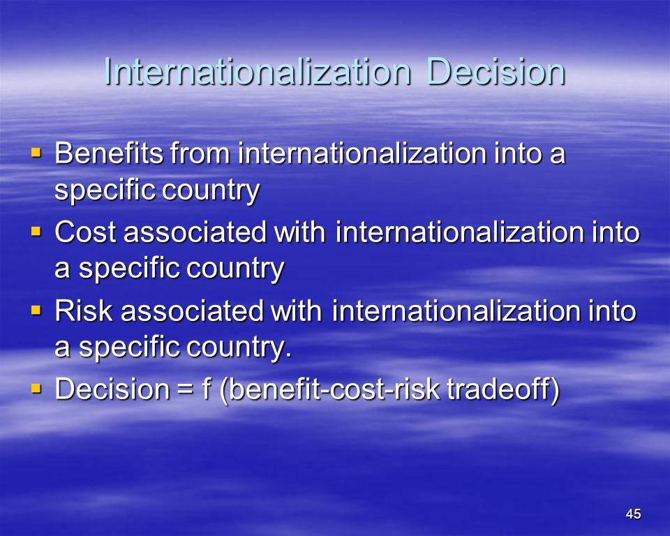 45 Internationalization Decision Benefits from internationalization into a specific country Benefits from internationalization into a specific country