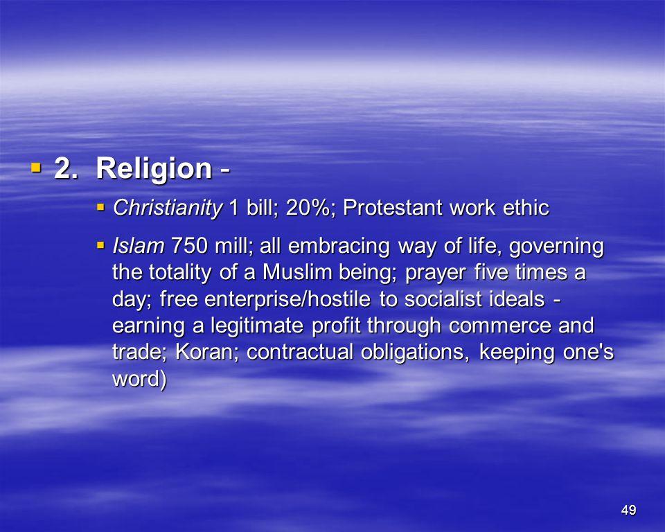49 2.Religion - 2.Religion - Christianity 1 bill; 20%; Protestant work ethic Christianity 1 bill; 20%; Protestant work ethic Islam 750 mill; all embra