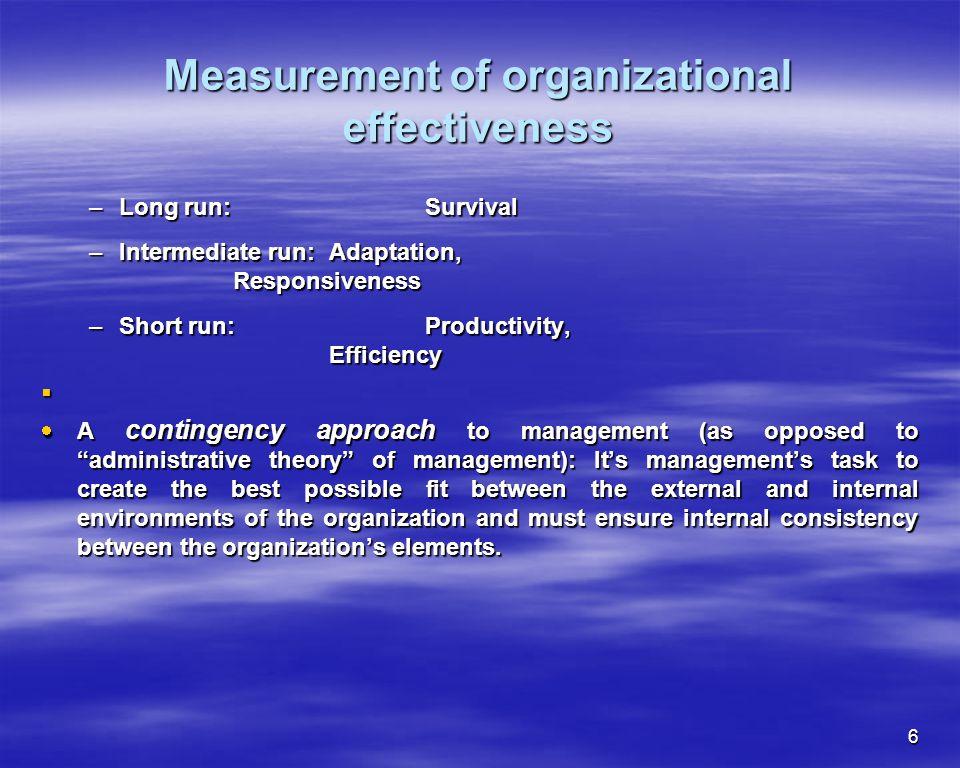 6 Measurement of organizational effectiveness –Long run: Survival –Intermediate run: Adaptation, Responsiveness –Short run:Productivity, Efficiency A