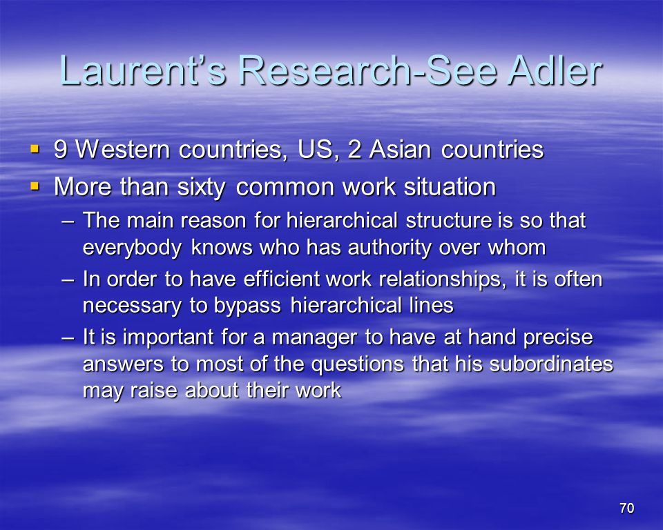 70 Laurents Research-See Adler 9 Western countries, US, 2 Asian countries 9 Western countries, US, 2 Asian countries More than sixty common work situa