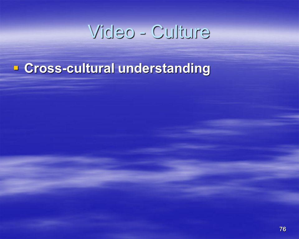 76 Video - Culture Cross-cultural understanding Cross-cultural understanding