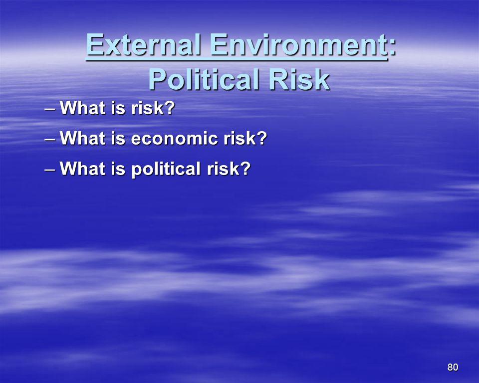 80 External Environment: Political Risk External Environment: Political Risk –What is risk? –What is economic risk? –What is political risk?