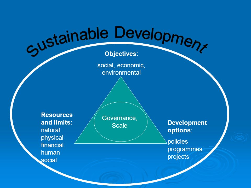 Objectives: social, economic, environmental Resources and limits: natural physical financial human social Development options: policies programmes projects Governance, Scale